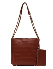 Fashion Brown Stone Pattern Chain Solid Color One-shoulder Mother And Daughter Bag