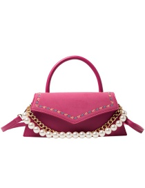 Fashion Rose Red Pearl Chain Embroidery Thread Flap Crossbody Shoulder Bag