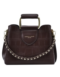 Fashion Coffee Color Stone Pattern Chain Contrast Color One-shoulder Messenger Bag