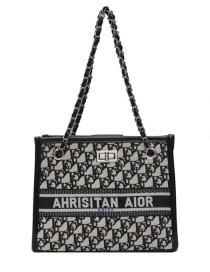Fashion Black Denim Chain Print Shoulder Messenger Bag