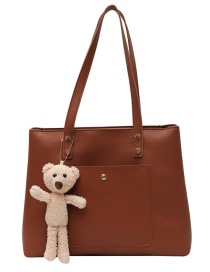Fashion Brown Stitching Solid Color Large-capacity Single-shoulder Mother And Daughter Bag