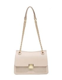 Fashion Beige Frosted Lock Chain Shoulder Crossbody Bag