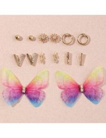 Fashion Color Mixing Geometric Tulle Butterfly Diamond Alloy Earring Set