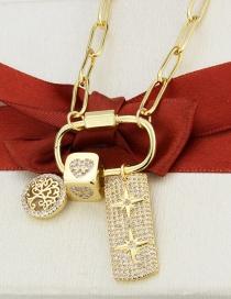 Fashion Big Gilded Tree+square+star Full Diamond Big Tree Square Star Pendant Necklace