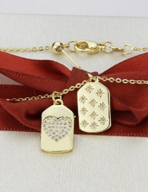 Fashion Gold Color-plated Love + Stars Square Star Love Heart Gold-plated Pendant Necklace