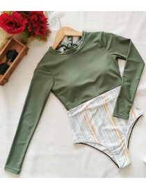 Fashion Bean Green Stripes Long Sleeve Floral Striped Print One-piece Swimsuit