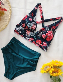 Fashion Color Mixing High-waist Pleated Print Split Swimsuit