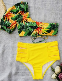 Fashion Green Leaf Print Top + Yellow Bottoms Flower Print Contrast Color Puff Sleeve Split Swimsuit