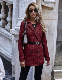 Fashion Red Houndstooth One-button Suit Long-sleeved Jacket
