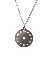 Fashion Twelve Constellations Just Color 6 Stainless Steel Chain Constellation Hollow Round Necklace