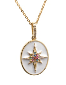 Fashion Six-pointed Star O Child Chain Gold Color Six-pointed Star Oil Drop Diamond Love Pendant Necklace