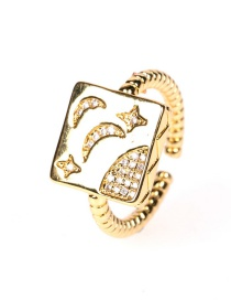 Fashion Gold Color Geometric Twist Starry Sky Open Ring