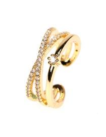 Fashion Gold Color Cross Micro-set Zircon Open Double Ring
