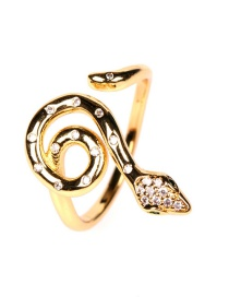 Fashion Gold Color Micro-inlaid Zircon Snake-shaped Winding Open Ring