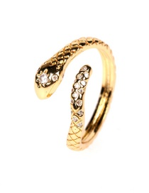 Fashion Gold Color Textured Micro Zircon Snake Open Ring