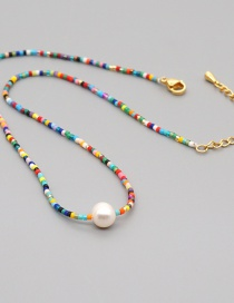 Fashion Mixing 2 Natural Freshwater Pearl Pendant Long Rice Bead Necklace