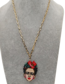 Fashion Portrait Red Stainless Steel Rice Bead Woven Frida Necklace