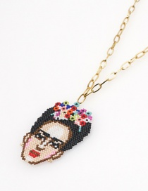 Fashion Color Mixing Stainless Steel Rice Beads Hand-woven Frida Necklace