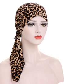 Fashion Leopard Turban Hat With Curved Tail Print