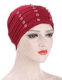 Fashion Red Wine Crystal Linen Discount Order Flower Head Scarf Hat