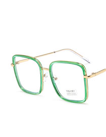 Fashion Gold Color Frame Transparent Green Circle Square Alloy Anti-blue Light Flat Mirror