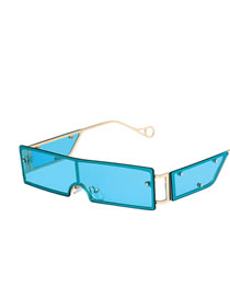 Fashion Blue Small Frame Square One-piece Metal Rivet Sunglasses