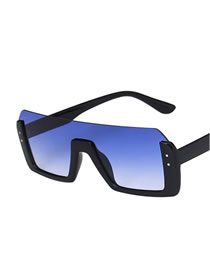 Fashion Bright Black Double Blue Rice Nail Half Frame One-piece Sunglasses