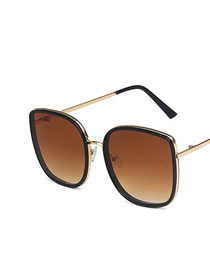 Fashion Double Tea Slices Large Frame Resin Alloy Sunglasses