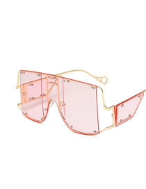 Fashion Pink One Piece Large Frame Alloy Hollow Sunglasses