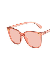 Fashion Transparent Powder Letter Conjoined Metal Hinge Resin Sunglasses