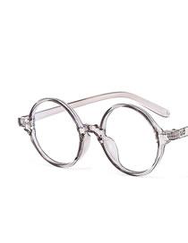 Fashion Transparent Gray Frame White Film Round Anti-blue Light Flat Mirror