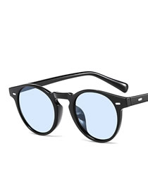 Fashion Bright Black And Blue Film Round Frame Rice Nail Mens Sunglasses