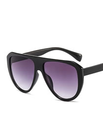 Fashion Bright Black Double Gray Large Frame Resin Sunglasses