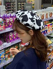 Fashion Black And White Cow Pattern Woolen Beret