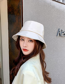 Fashion Off-white Pu Leather Solid Color Stitching Fisherman Hat
