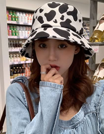 Fashion Black And White Cow Pattern Print Stitching Fisherman Hat