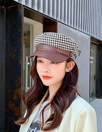 Fashion Brown Houndstooth Contrast Beret With Leather Edge