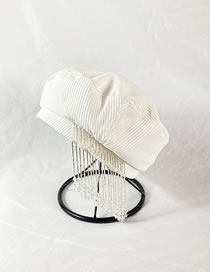 Fashion White Beaded Chain Corduroy Stitching Solid Color Beret