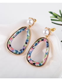 Fashion Color Mixing Acetate Plate Geometric Pearl Hollow Earrings