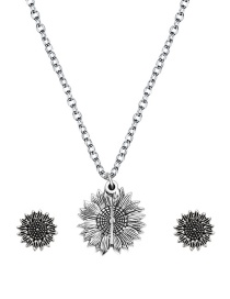 Fashion Silver Color Alloy Sunflower Lettering Necklace Earring Set