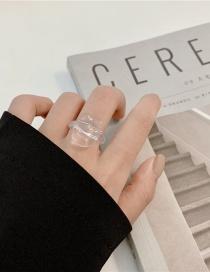 Fashion Transparent White Ice Cube Resin Transparent Geometric Ring