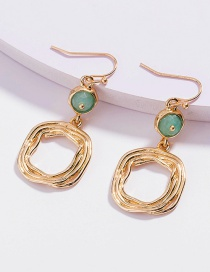 Fashion Golden Color Faceted Agate Flat Bead Square Alloy Earrings