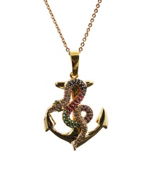 Fashion Snake 13o Sub Chain Necklace Micro-set Zircon Curved Snake-shaped Pendant Necklace