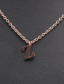Fashion Rose Gold Color Z Geometric Stainless Steel Letter Necklace