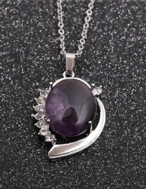 Fashion Amethyst Oval Pendant Geometric Stainless Steel Chain Amethyst Diamond Pendant Necklace