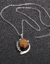 Fashion Tiger Eye Oval Pendant Geometric Stainless Steel Chain Tiger Eye Stone Pendant Necklace With Diamonds