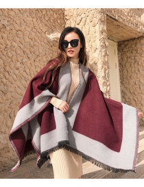 Fashion Brick Red Solid Color Border Knitted Imitation Cashmere Split Long Shawl