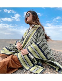 Fashion Army Green Thick Knitted Cashmere Slit Long Shawl