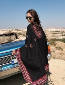 Fashion Black Red Thick Knitted Cashmere Split Cape Shawl