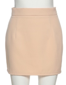 Fashion Apricot Skirt Single-breasted Long-sleeved Slim Small Suit Short Skirt